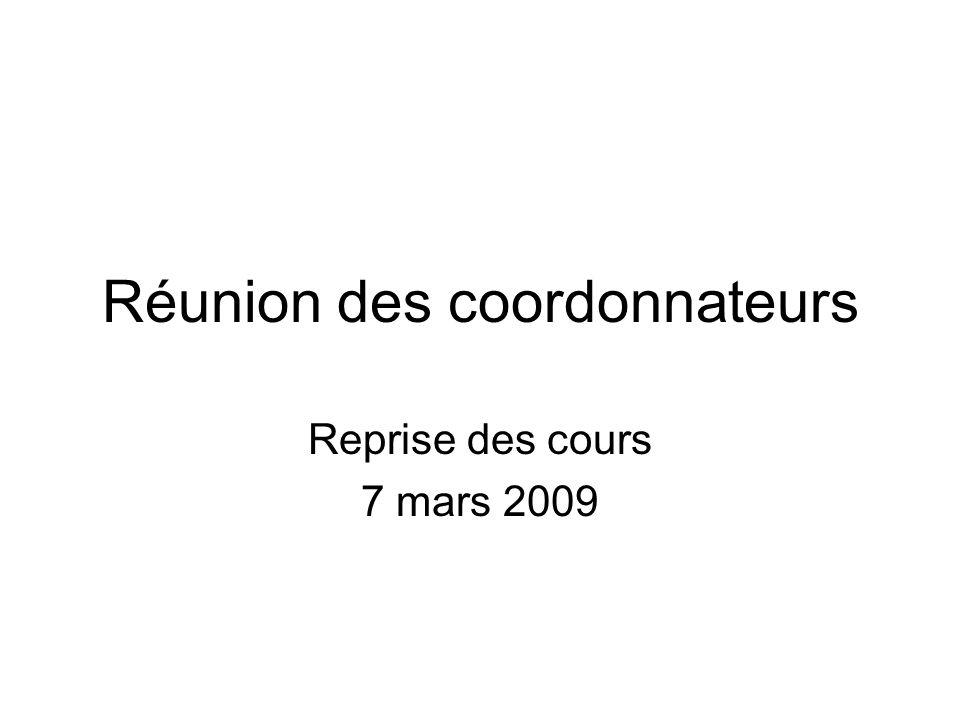 Réunion des coordonnateurs Reprise des cours 7 mars 2009