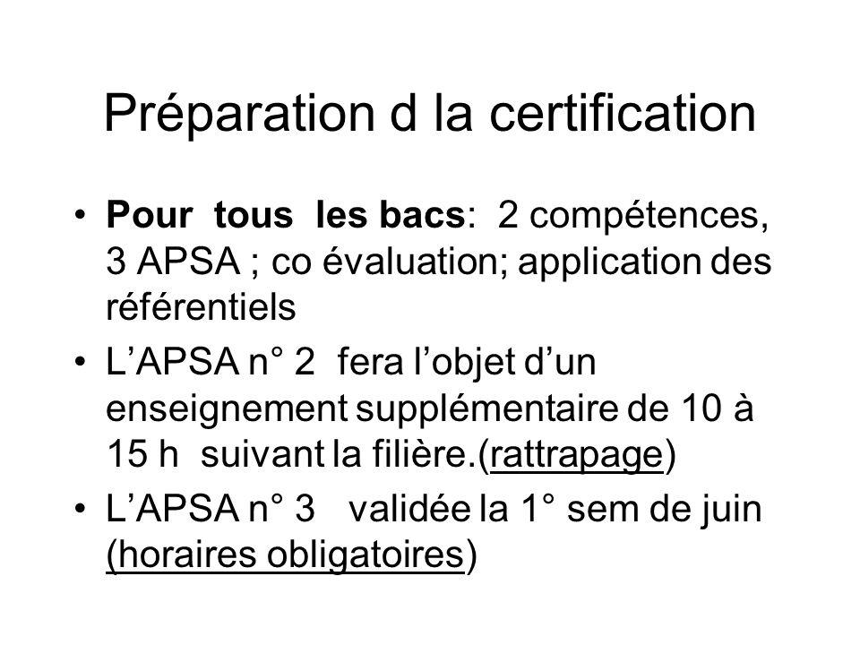 Préparation d la certification Pour tous les bacs: 2 compétences, 3 APSA ; co évaluation; application des référentiels LAPSA n° 2 fera lobjet dun enseignement supplémentaire de 10 à 15 h suivant la filière.(rattrapage) LAPSA n° 3 validée la 1° sem de juin (horaires obligatoires)
