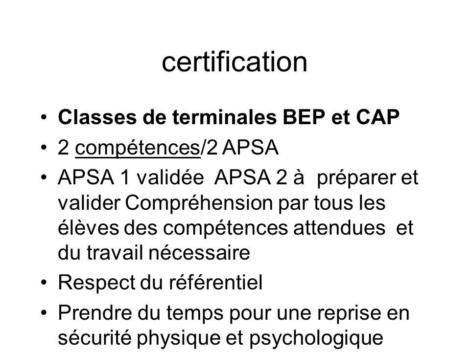 certification Classes de terminales BEP et CAP 2 compétences/2 APSA APSA 1 validée APSA 2 à préparer et valider Compréhension par tous les élèves des compétences attendues et du travail nécessaire Respect du référentiel Prendre du temps pour une reprise en sécurité physique et psychologique