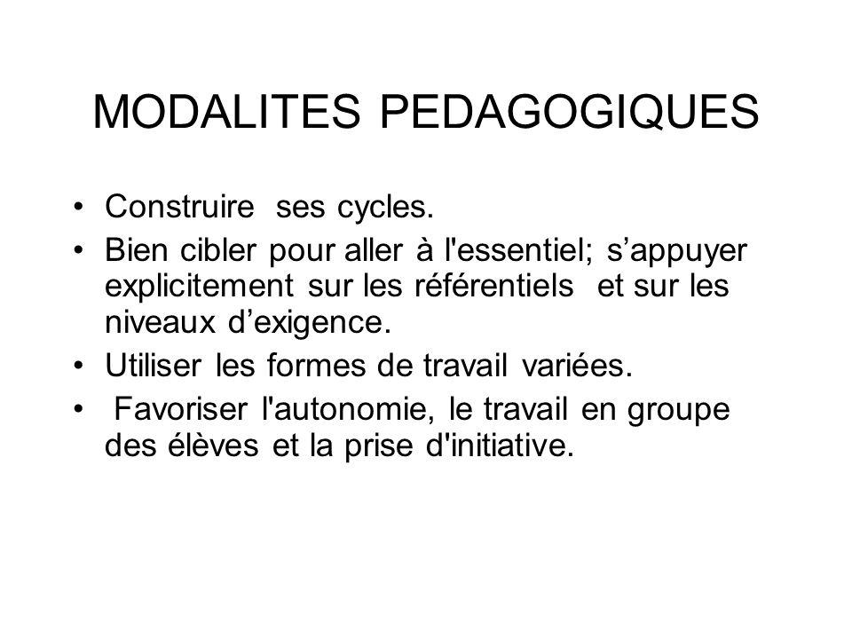 MODALITES PEDAGOGIQUES Construire ses cycles.