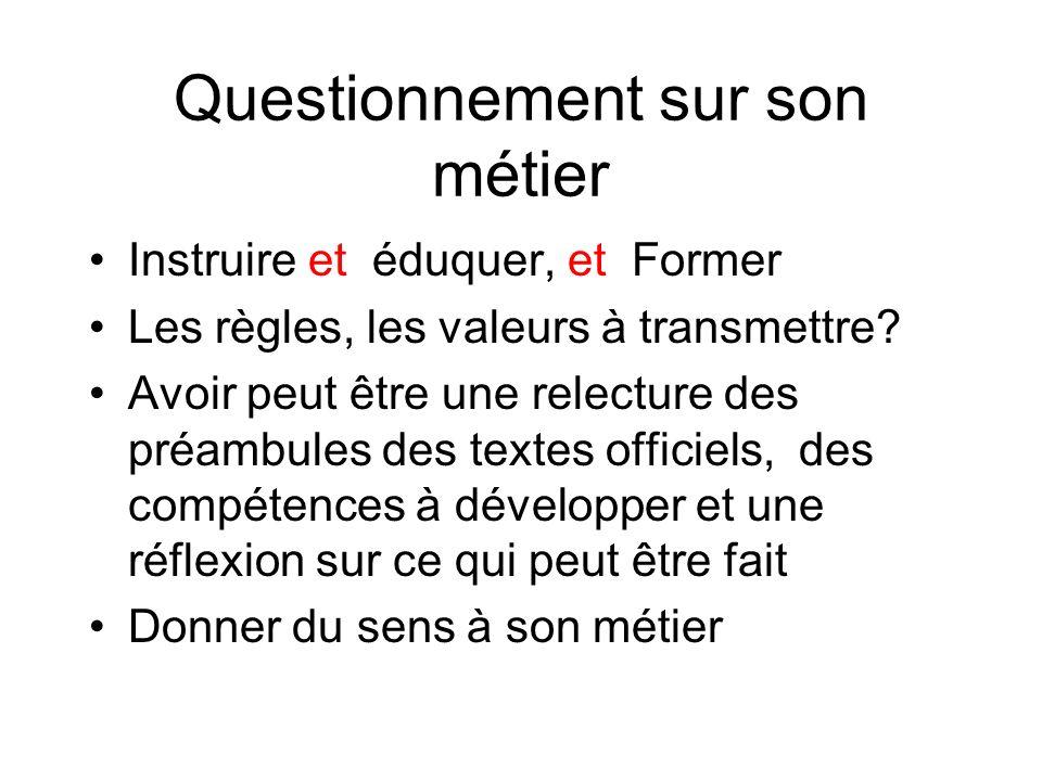 Questionnement sur son métier Instruire et éduquer, et Former Les règles, les valeurs à transmettre.