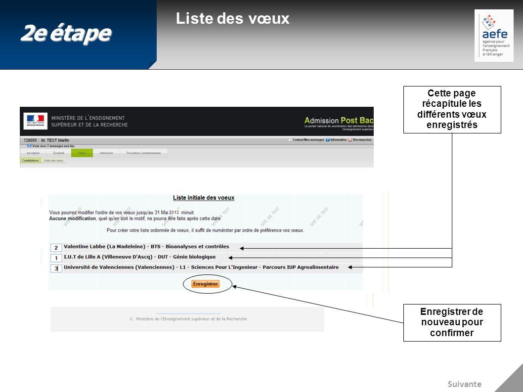 Liste des vœux Cette page récapitule les différents vœux enregistrés Enregistrer de nouveau pour confirmer Suivante 2eétape 2e étape 2013