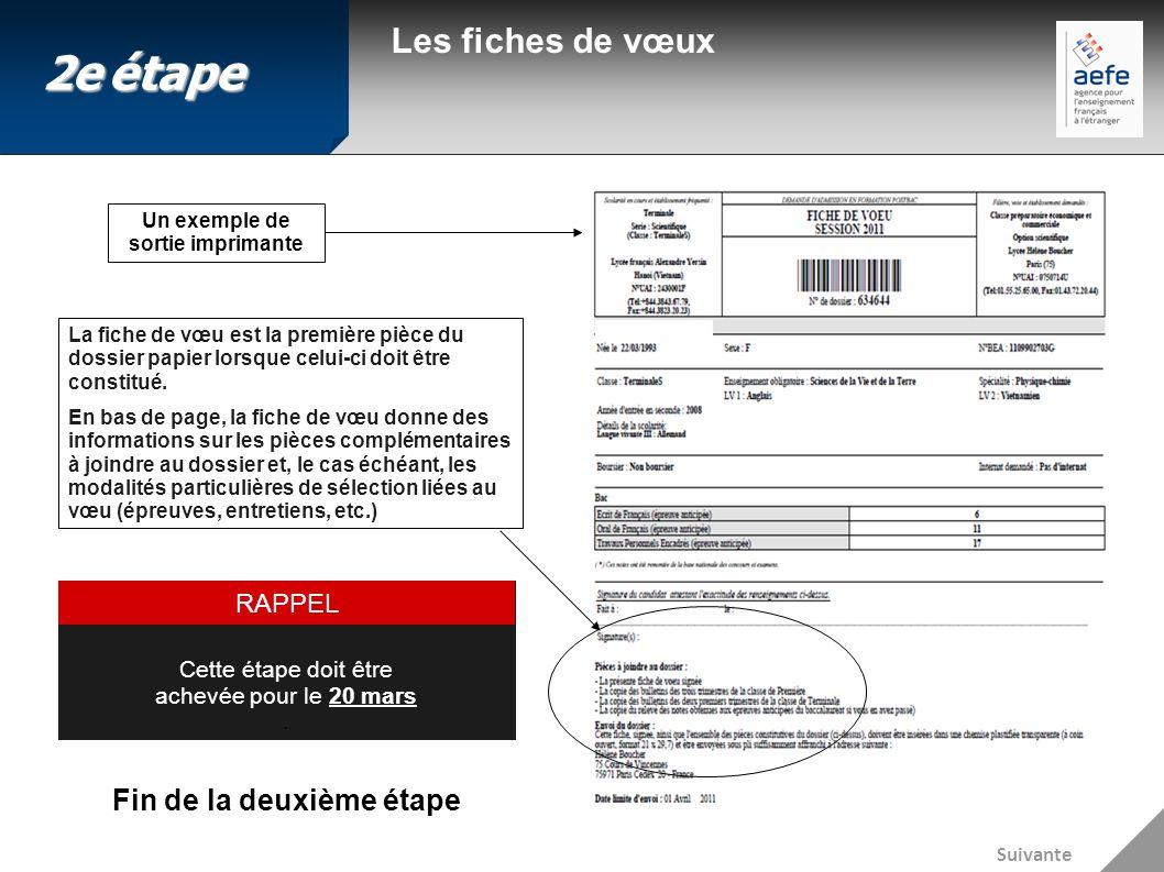 Les fiches de vœux Un exemple de sortie imprimante Fin de la deuxième étape Cette étape doit être achevée pour le 20 mars. RAPPEL La fiche de vœu est