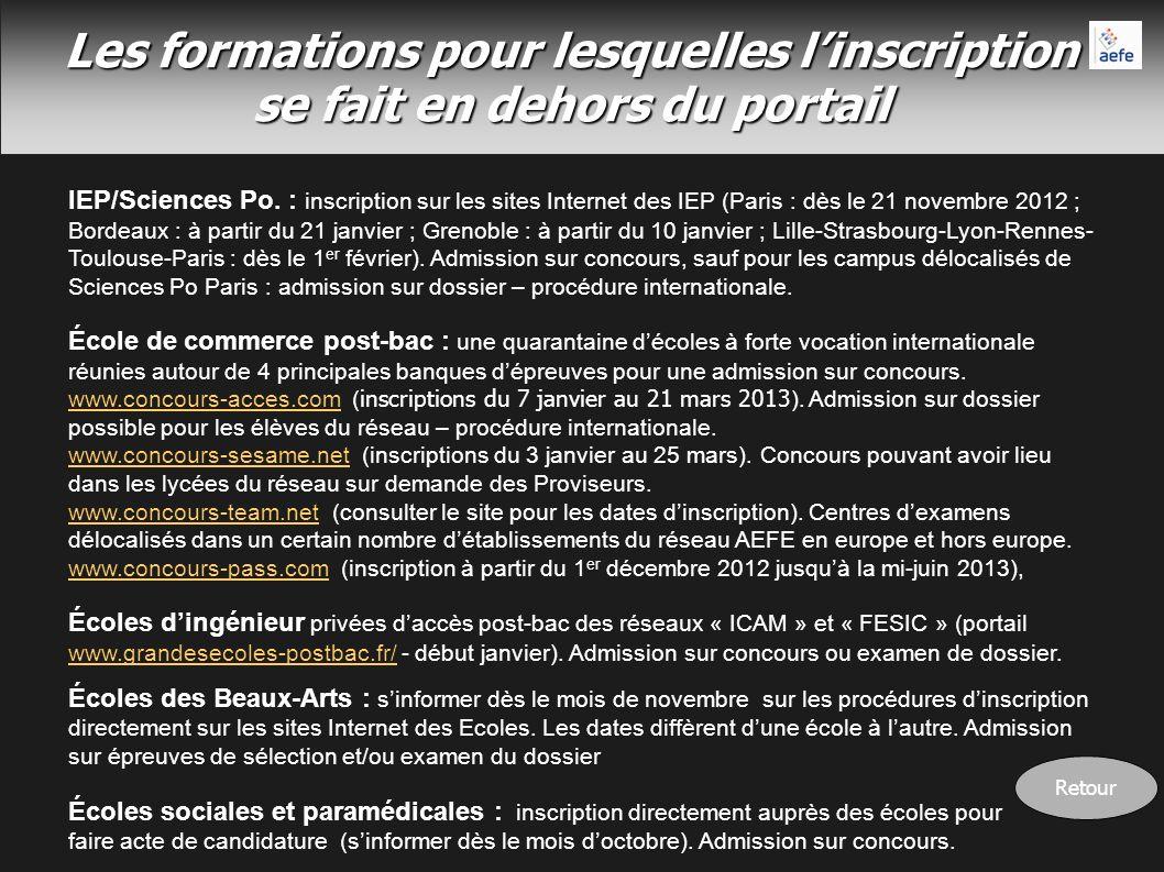 Les formations pour lesquelles linscription se fait en dehors du portail IEP/Sciences Po. : inscription sur les sites Internet des IEP (Paris : dès le