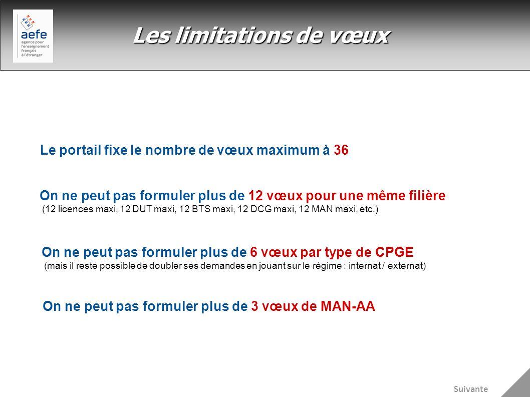 Les limitations de vœux Le portail fixe le nombre de vœux maximum à 36 On ne peut pas formuler plus de 12 vœux pour une même filière (12 licences maxi
