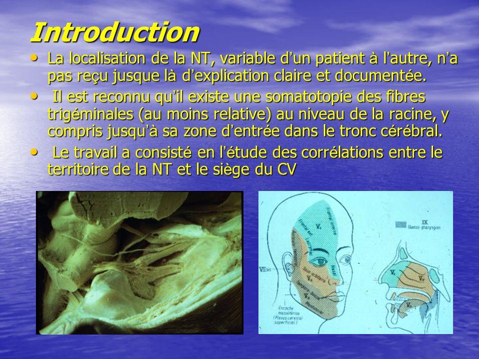 Introduction La localisation de la NT, variable d un patient à l autre, n a pas re ç u jusque l à d explication claire et document é e.