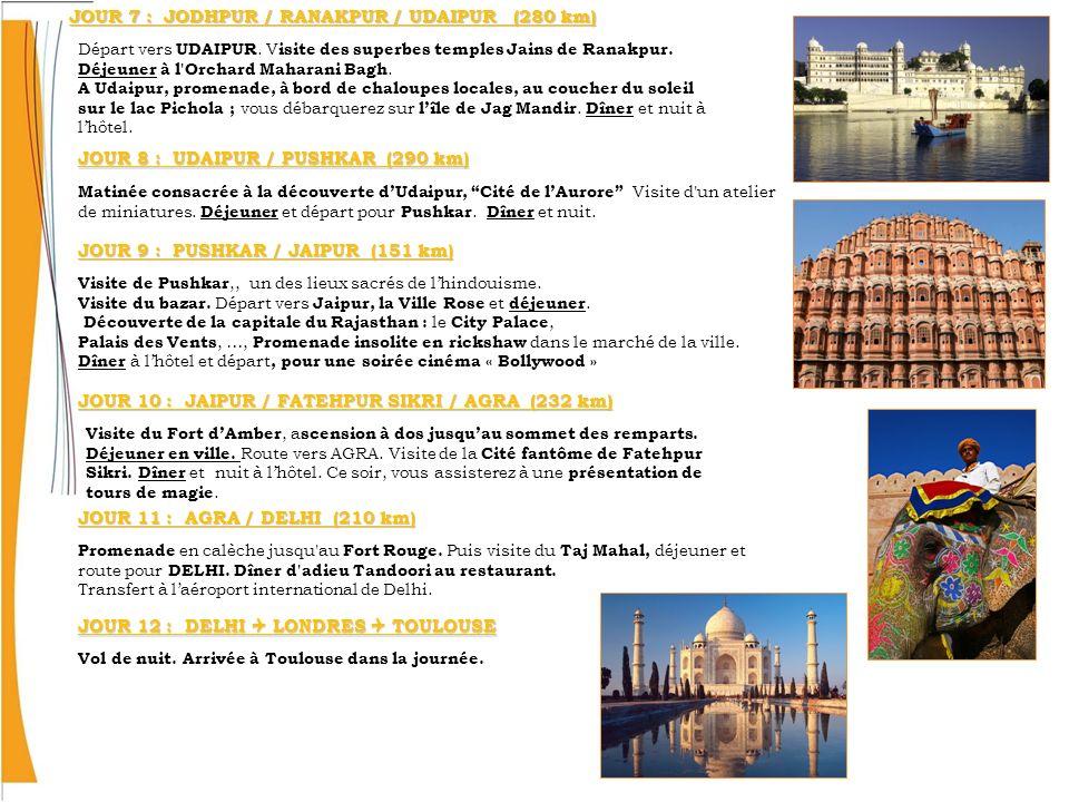 JOUR 7 : JODHPUR / RANAKPUR / UDAIPUR (280 km) Départ vers UDAIPUR. V isite des superbes temples Jains de Ranakpur. Déjeuner à l'Orchard Maharani Bagh