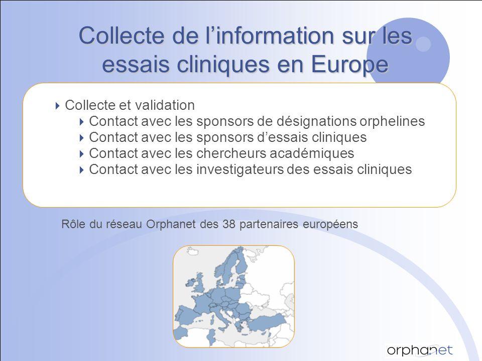 Collecte de linformation sur les essais cliniques en Europe Collecte et validation Contact avec les sponsors de désignations orphelines Contact avec les sponsors dessais cliniques Contact avec les chercheurs académiques Contact avec les investigateurs des essais cliniques Rôle du réseau Orphanet des 38 partenaires européens