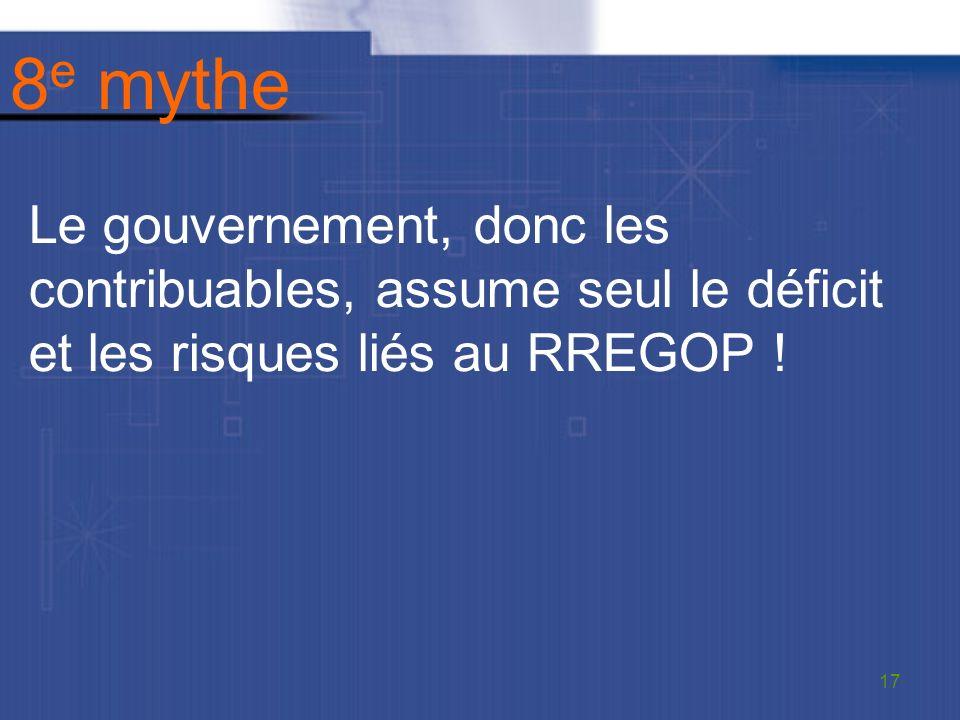 8 e mythe Le gouvernement, donc les contribuables, assume seul le déficit et les risques liés au RREGOP .