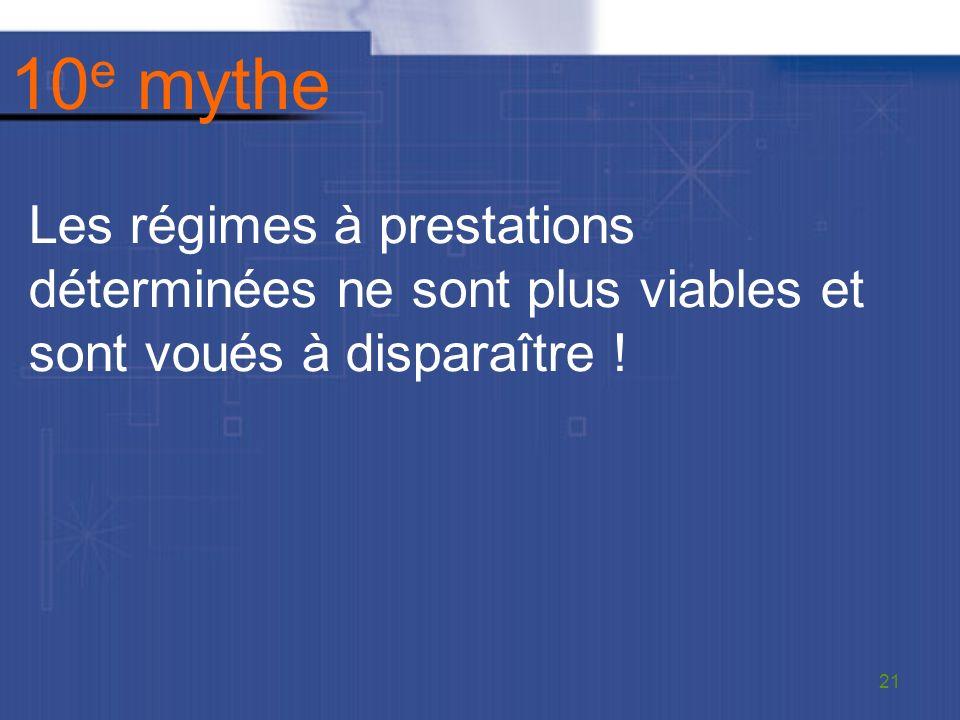 10 e mythe Les régimes à prestations déterminées ne sont plus viables et sont voués à disparaître .