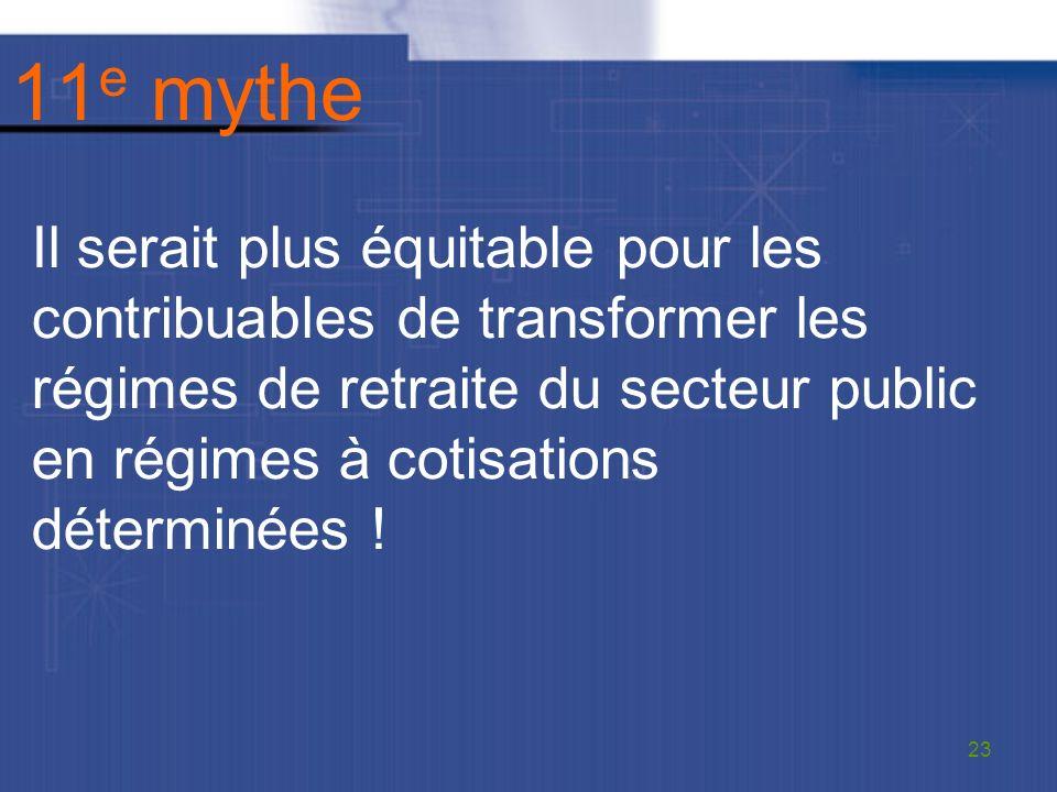 11 e mythe Il serait plus équitable pour les contribuables de transformer les régimes de retraite du secteur public en régimes à cotisations déterminées .