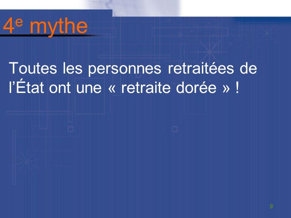 4 e mythe Toutes les personnes retraitées de lÉtat ont une « retraite dorée » ! 9