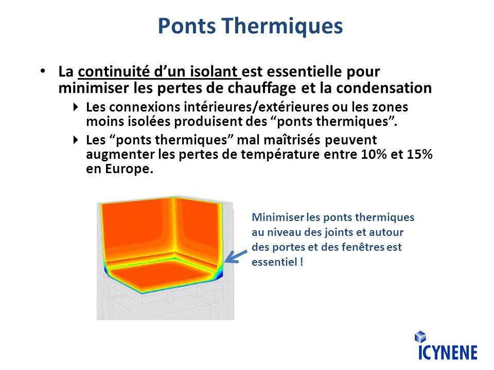 La continuité dun isolant est essentielle pour minimiser les pertes de chauffage et la condensation Les connexions intérieures/extérieures ou les zones moins isolées produisent des ponts thermiques.