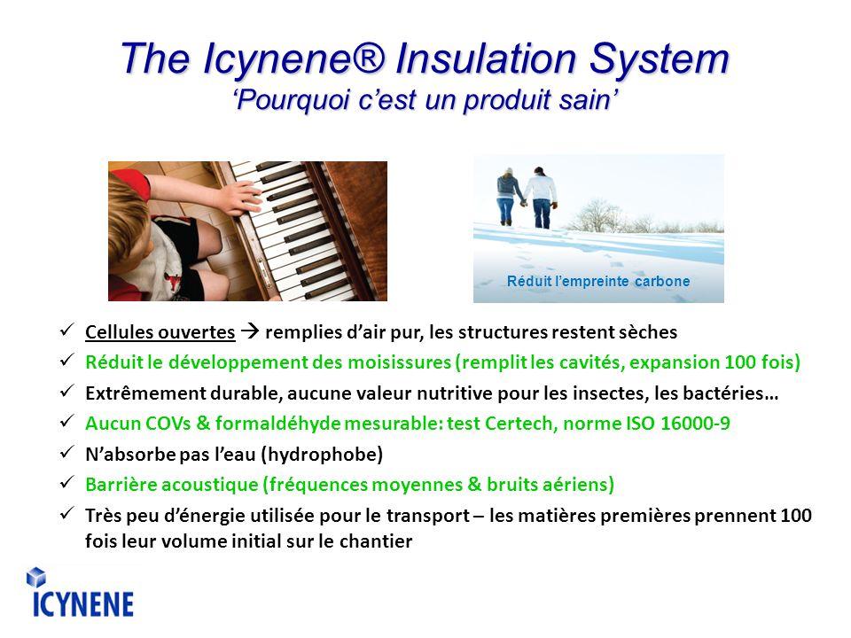 The Icynene® Insulation System Pourquoi cest un produit sain Cellules ouvertes remplies dair pur, les structures restent sèches Réduit le développemen