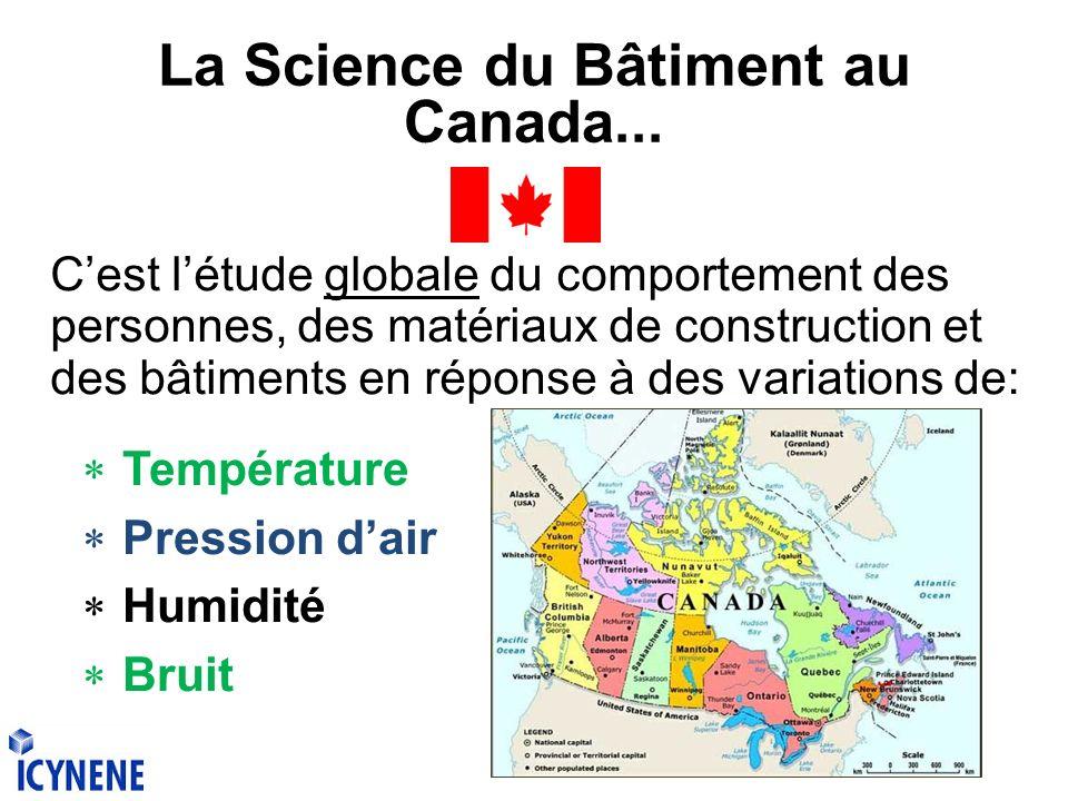 La Science du Bâtiment au Canada... Cest létude globale du comportement des personnes, des matériaux de construction et des bâtiments en réponse à des