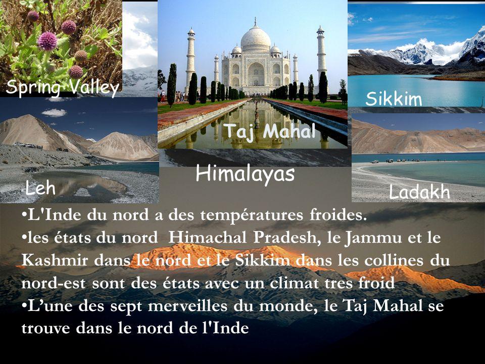 L'Inde du nord a des températures froides. les états du nord Himachal Pradesh, le Jammu et le Kashmir dans le nord et le Sikkim dans les collines du n