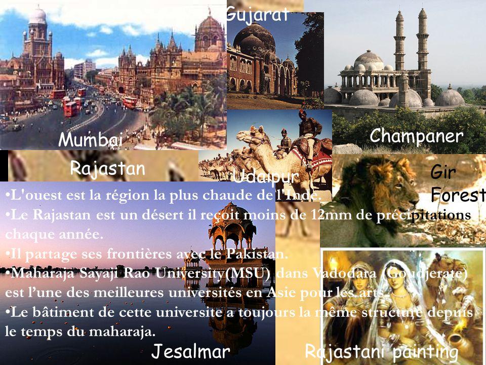 Jesalmar Mumbai Champaner Rajastan Gujarat Rajastani painting L'ouest est la région la plus chaude de l'Inde. Le Rajastan est un désert il reçoit moin