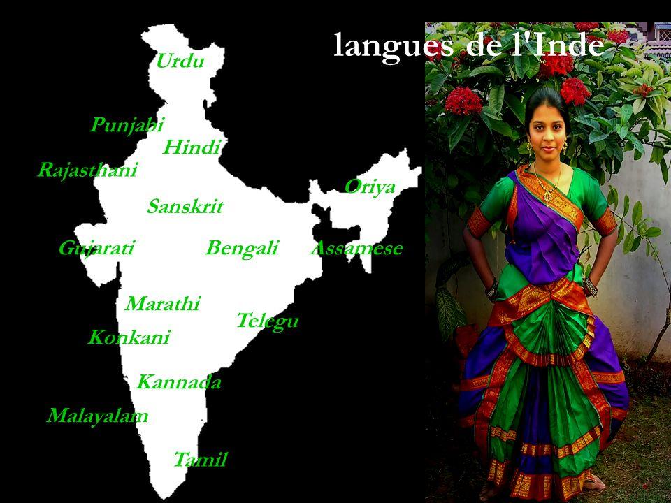 Hindi Sanskrit Tamil Gujarati Urdu Punjabi Bengali Malayalam Marathi Konkani Kannada Assamese Telegu Oriya langues de l'Inde Rajasthani