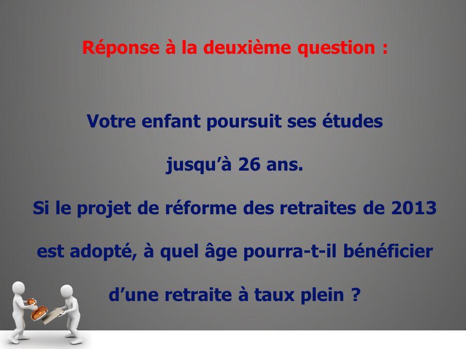 Réponse à la deuxième question : Votre enfant poursuit ses études jusquà 26 ans.