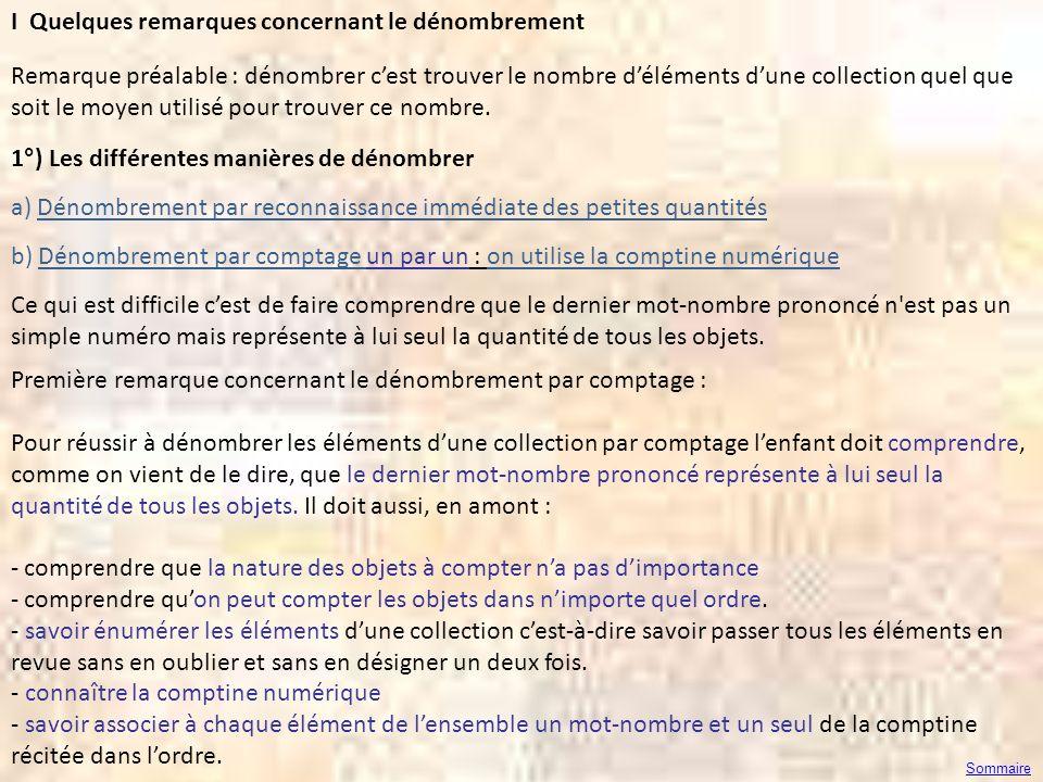 I Quelques remarques concernant le dénombrement Remarque préalable : dénombrer cest trouver le nombre déléments dune collection quel que soit le moyen
