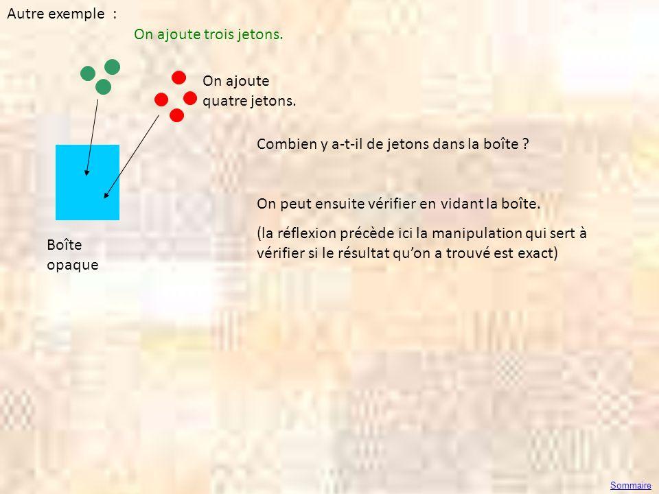 Autre exemple : Boîte opaque Combien y a-t-il de jetons dans la boîte ? On peut ensuite vérifier en vidant la boîte. (la réflexion précède ici la mani