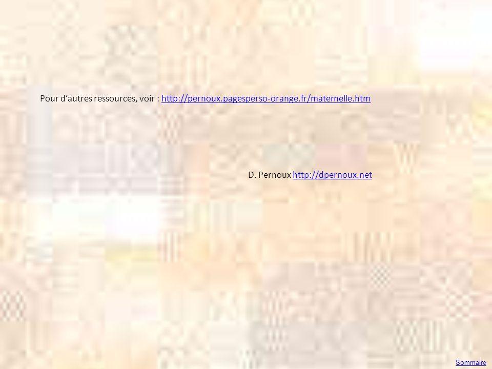 Pour dautres ressources, voir : http://pernoux.pagesperso-orange.fr/maternelle.htmhttp://pernoux.pagesperso-orange.fr/maternelle.htm D. Pernoux http:/