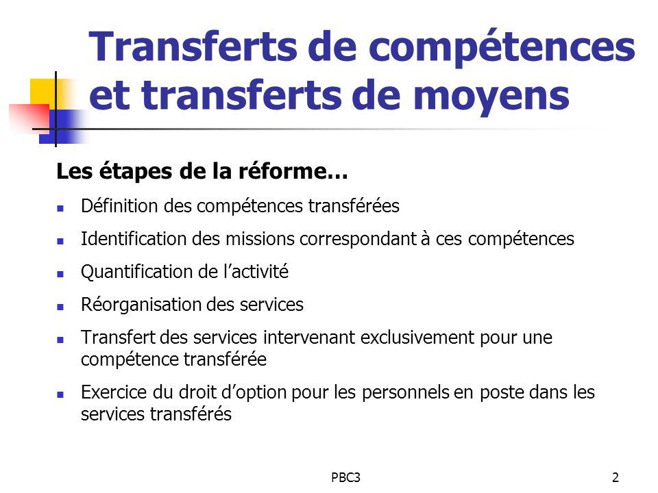PBC32 Transferts de compétences et transferts de moyens Les étapes de la réforme… Définition des compétences transférées Identification des missions c
