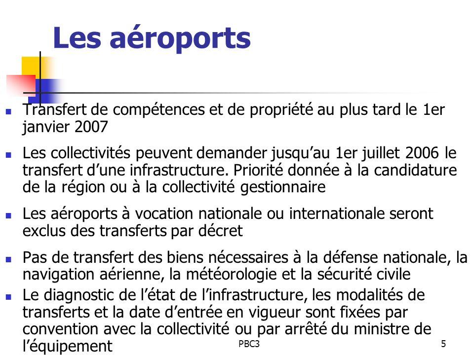 PBC35 Les aéroports Transfert de compétences et de propriété au plus tard le 1er janvier 2007 Les collectivités peuvent demander jusquau 1er juillet 2