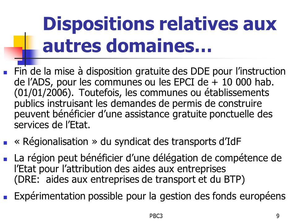 PBC39 Dispositions relatives aux autres domaines… Fin de la mise à disposition gratuite des DDE pour linstruction de lADS, pour les communes ou les EP