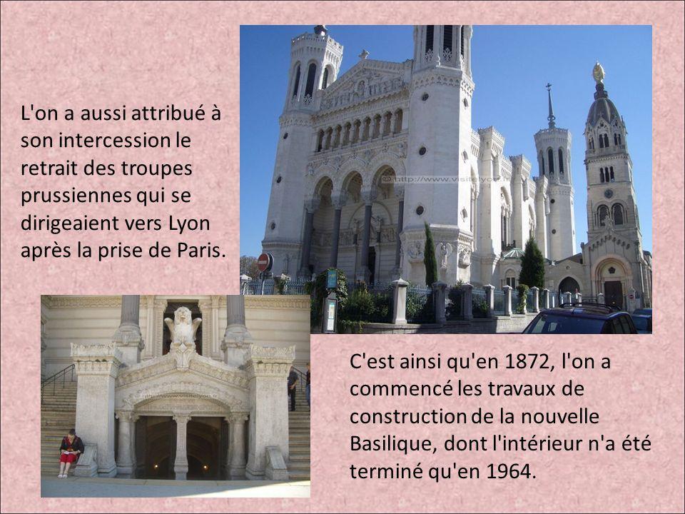 L'on a aussi attribué à son intercession le retrait des troupes prussiennes qui se dirigeaient vers Lyon après la prise de Paris. C'est ainsi qu'en 18