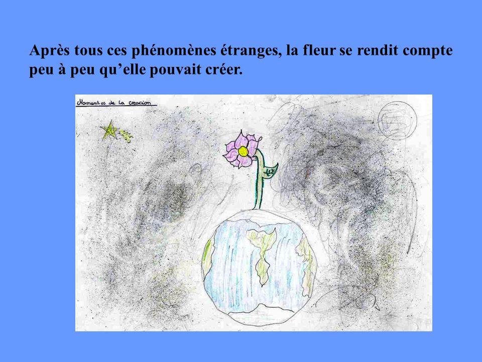 Fatiguée, la fleur sendormit. Ses ronflements provoquèrent des vibrations si fortes quelles firent sortir les lacs et les rivières de leur lit…et les
