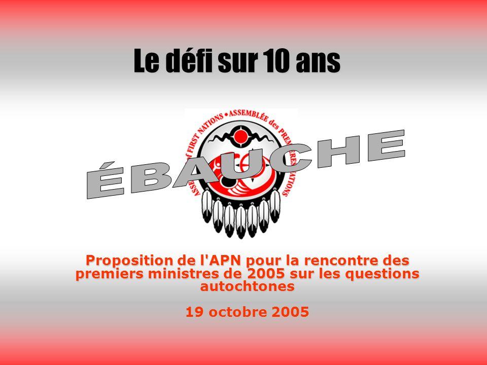 Proposition de l APN pour la rencontre des premiers ministres de 2005 sur les questions autochtones 19 octobre 2005 Le défi sur 10 ans