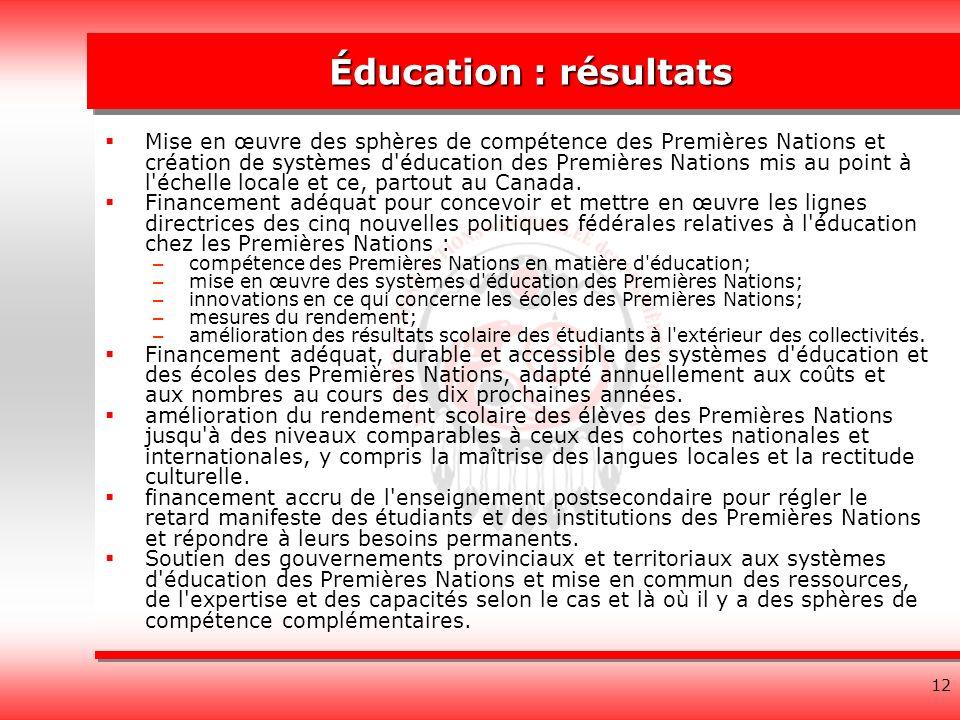 12 Éducation : résultats Mise en œuvre des sphères de compétence des Premières Nations et création de systèmes d éducation des Premières Nations mis au point à l échelle locale et ce, partout au Canada.