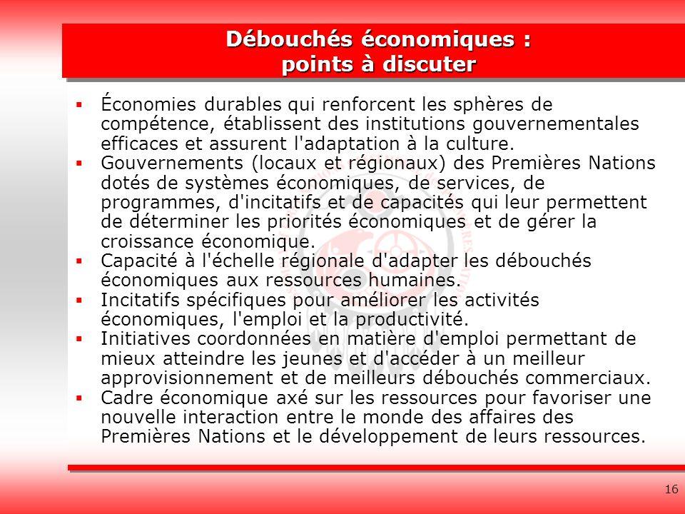 16 Débouchés économiques : points à discuter Économies durables qui renforcent les sphères de compétence, établissent des institutions gouvernementales efficaces et assurent l adaptation à la culture.
