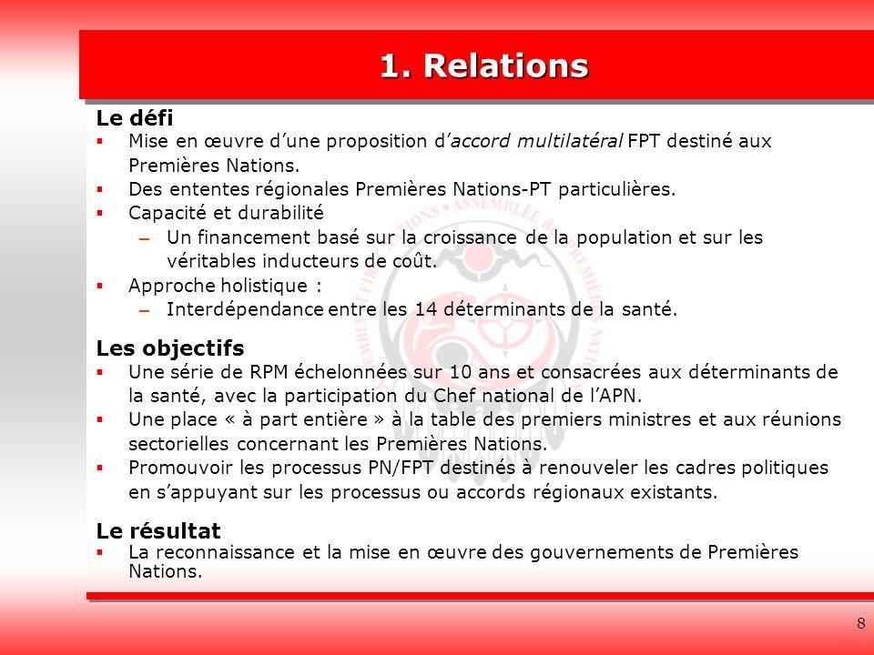 8 1. Relations Le défi Mise en œuvre dune proposition daccord multilatéral FPT destiné aux Premières Nations. Des ententes régionales Premières Nation