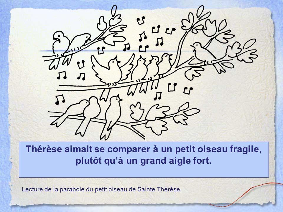 Thérèse aimait se comparer à un petit oiseau fragile, plutôt quà un grand aigle fort. Lecture de la parabole du petit oiseau de Sainte Thérèse.