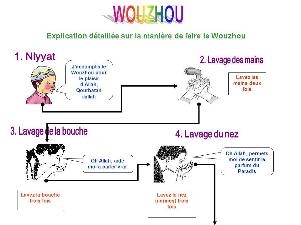 Explication détaillée sur la manière de faire le Wouzhou Jaccomplis le Wouzhou pour le plaisir dAllah, Qourbatan ilallàh Lavez les mains deux fois Lav