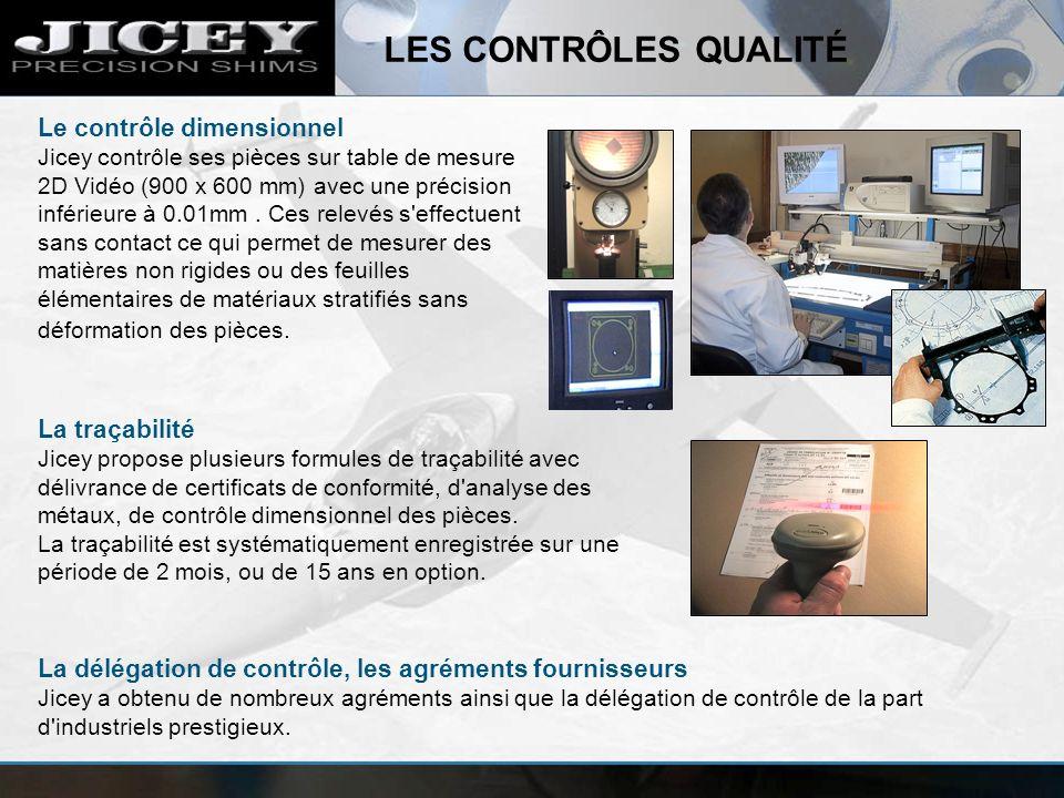 LES CONTRÔLES QUALITÉ Le contrôle dimensionnel Jicey contrôle ses pièces sur table de mesure 2D Vidéo (900 x 600 mm) avec une précision inférieure à 0