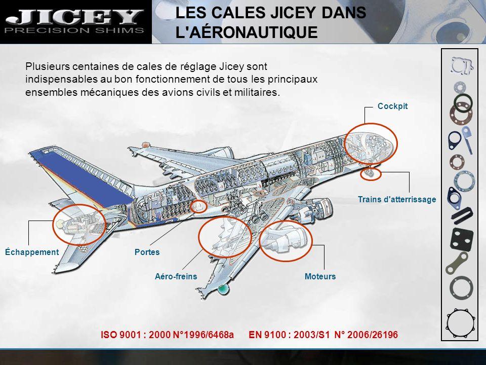 LES CALES JICEY DANS L'AÉRONAUTIQUE Cockpit Trains d'atterrissage MoteursAéro-freins PortesÉchappement Plusieurs centaines de cales de réglage Jicey s