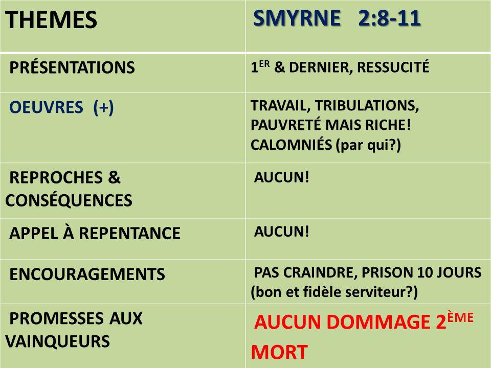 THEMES SMYRNE 2:8-11 PRÉSENTATIONS 1 ER & DERNIER, RESSUCITÉ OEUVRES (+) TRAVAIL, TRIBULATIONS, PAUVRETÉ MAIS RICHE! CALOMNIÉS (par qui?) REPROCHES &