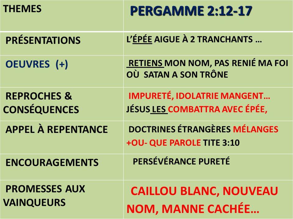 THEMES PERGAMME 2:12-17 PRÉSENTATIONS LÉPÉE AIGUE À 2 TRANCHANTS … OEUVRES (+) RETIENS MON NOM, PAS RENIÉ MA FOI OÙ SATAN A SON TRÔNE REPROCHES & CONS