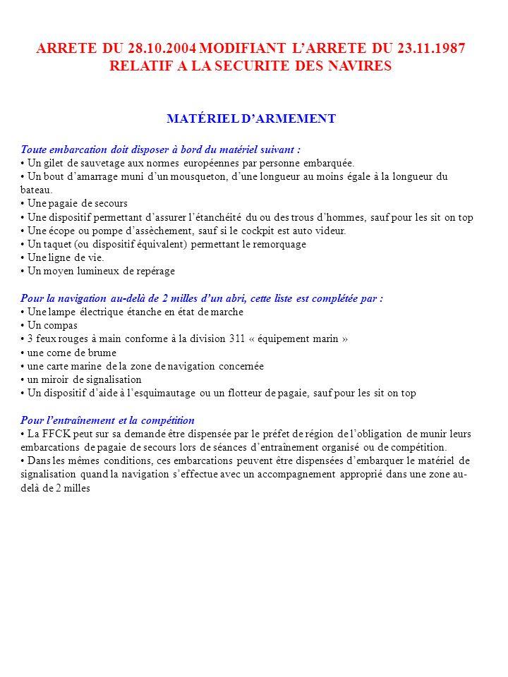 ARRETE DU 28.10.2004 MODIFIANT LARRETE DU 23.11.1987 RELATIF A LA SECURITE DES NAVIRES MATÉRIEL DARMEMENT Toute embarcation doit disposer à bord du ma