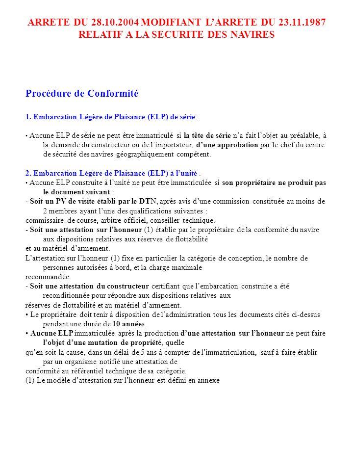 ARRETE DU 28.10.2004 MODIFIANT LARRETE DU 23.11.1987 RELATIF A LA SECURITE DES NAVIRES Procédure de Conformité 1. Embarcation Légère de Plaisance (ELP