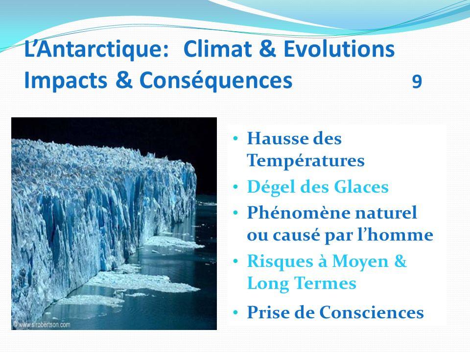 LAntarctique: Climat & Evolutions Impacts & Conséquences 9 Hausse des Températures Dégel des Glaces Phénomène naturel ou causé par lhomme Risques à Mo