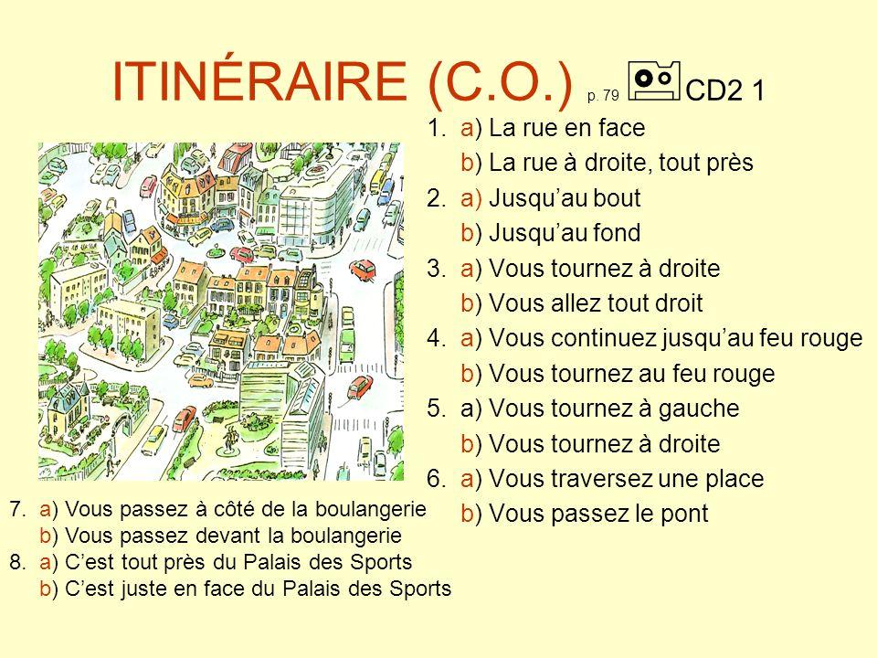ITINÉRAIRE (solution) p.79 CD2 1 1. a) La rue en face b) 2.