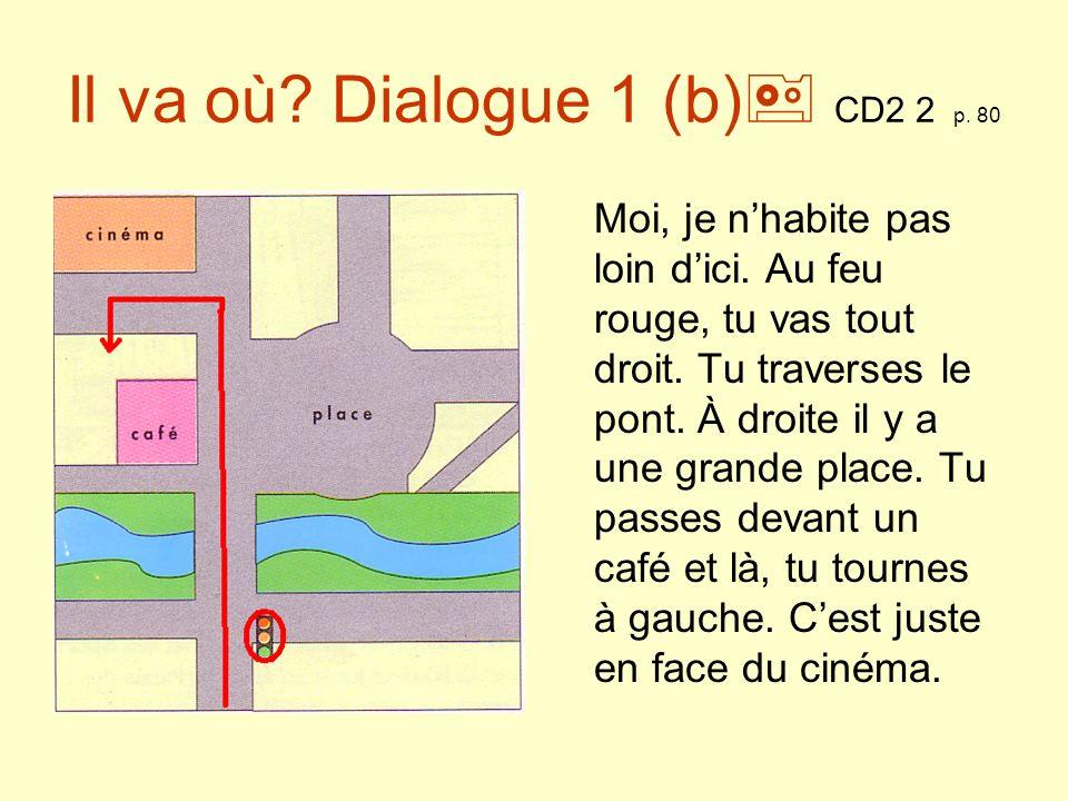 Il va où? Dialogue 2(a) CD2 2 p. 80 Quelles expressions de lieu vous entendez?