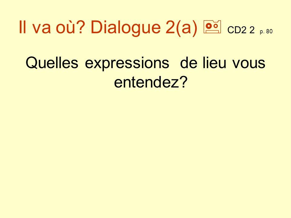 Il va où.Dialogue 2(b) CD2 2 p. 80 -Je veux aller au Palais des Sports, au concert de Voulzy.