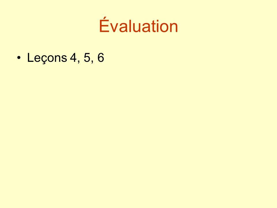 Révision grammaticale (photocopie 13) Leçons 1 à 6