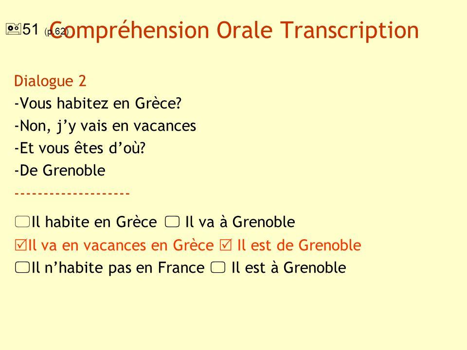 Compréhension Orale : transcription Dialogue 3 -Vous voyagez beaucoup.