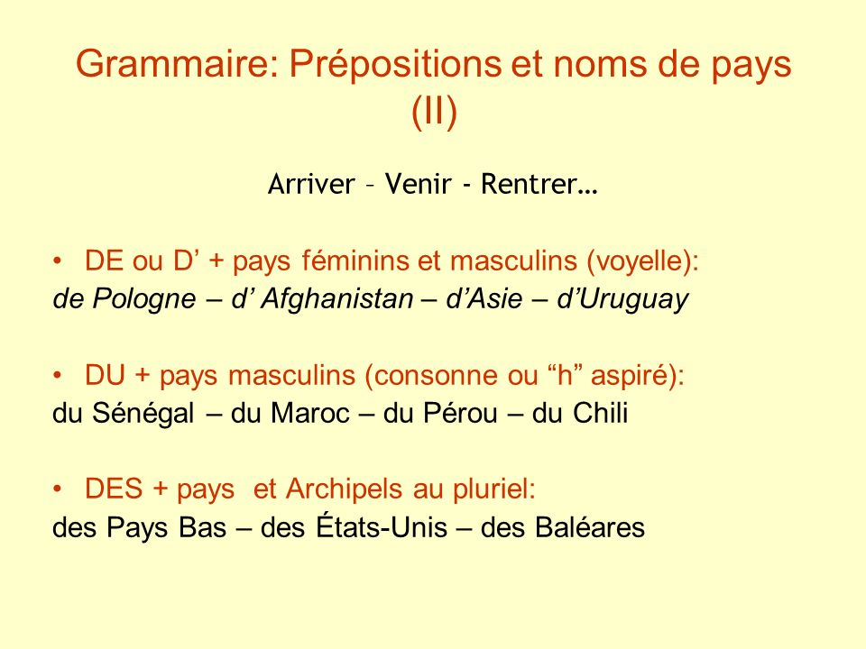 Grammaire: Prépositions et noms de villes (III) Être – Habiter – Travailler – Aller – Partir… À à Bordeaux – à Madrid – à Lisbonne – à Londres Attention.